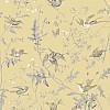 Hummingbirds Silk Fabric  - Yellow