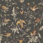 Hummingbirds - Brown & Beige Wallpaper