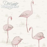 Flamingos - Natural, Ivory & White Wallpaper
