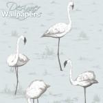 Flamingos - Aqua & Blue Wallpaper