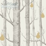 Woods and Pears - Natural, Ivory & White Wallpaper