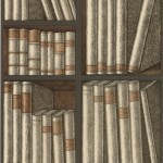 Cole and Son Ex Libris 77/11040 Beige books sketched in black with gold detail ...