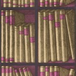 Cole and Son Ex Libris 77/11041 Metallic gold books with bright pink details an...