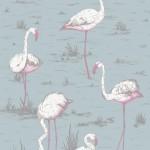 Flamingos Fabric - Blue