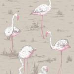 Flamingos Fabric - Brown