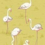 Flamingos Fabric - Yellow