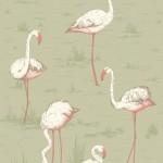 Flamingos Fabric - Lemon