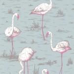 Flamingos - Grey Wallpaper