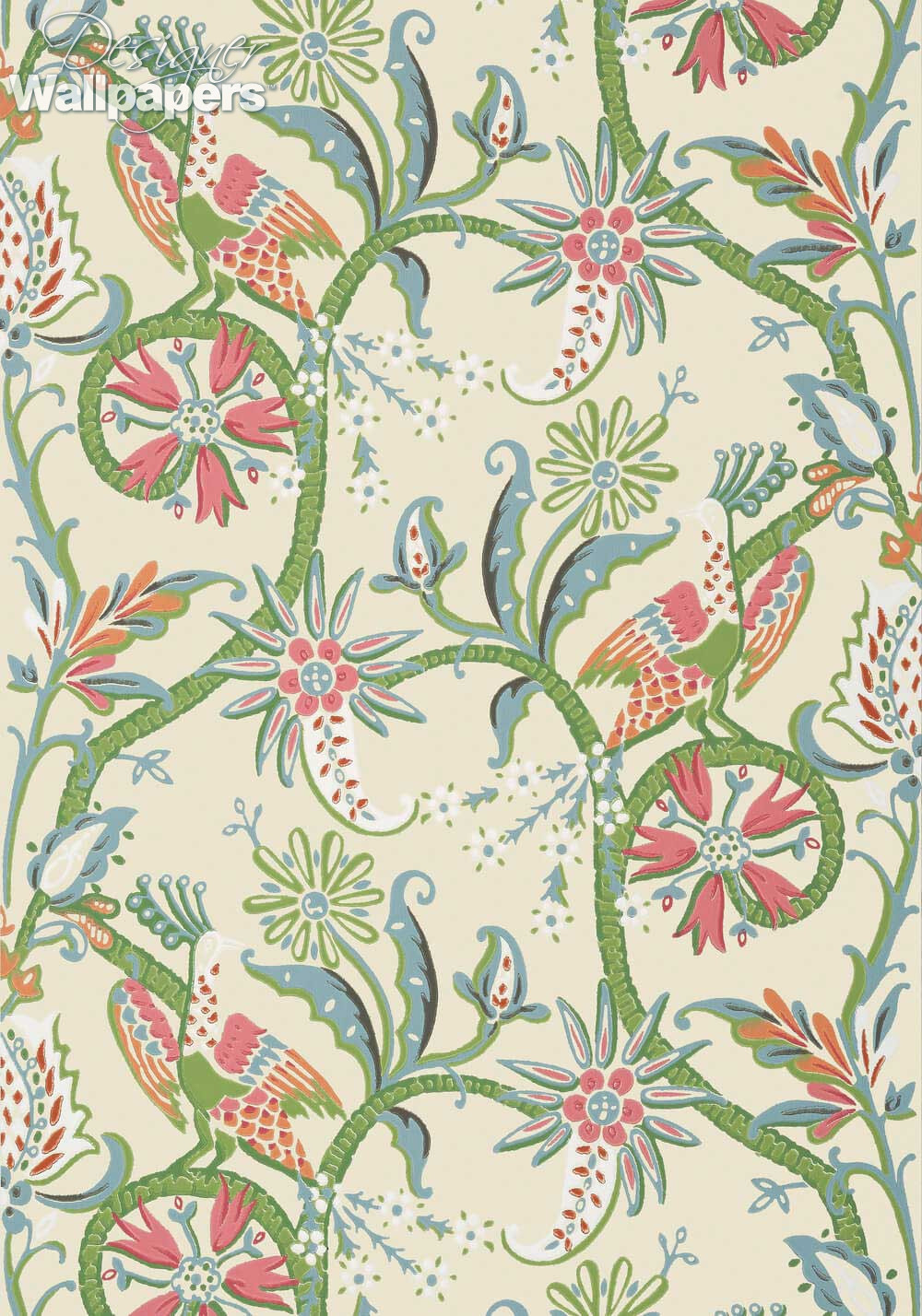 Thibaut wallpapers peacock garden next day delivery for Designer wallpaper uk